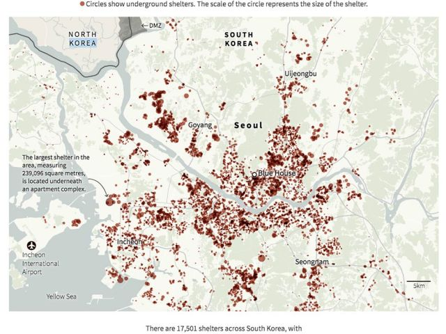 A map of bomb shelters in Korea
